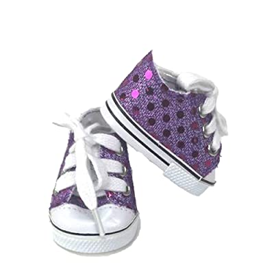 "18 Inch Doll Clothes | Purple Sequin Sneaker Tennis Shoe | Fits 18"" American Girl Dolls: Toys & Games"