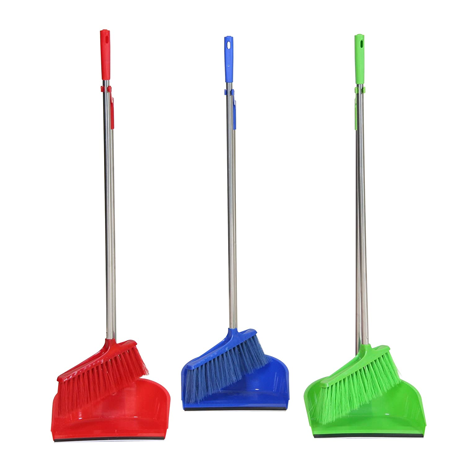 Ribelli 2-piece Sweeping-Set, Long Handled Dustpan and Brush Set, Indoor/Outdoor Standing Soft Bristle Sweeping Broom and Pan Set, 3 Colours