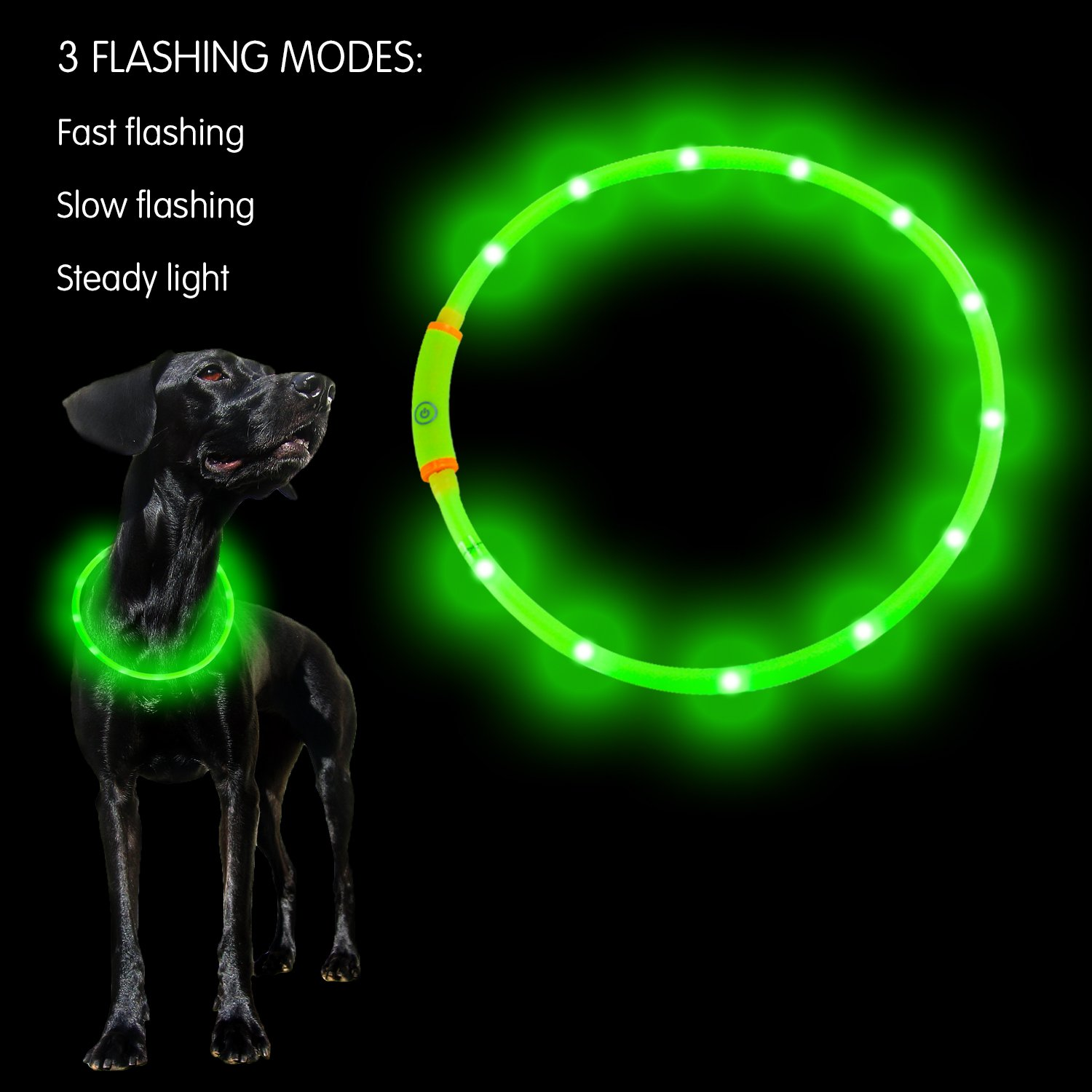 PetIsay 100% Waterproof LED Dog Collar - USB Rechargeable - Glow in the dark Makes Your Dog Visible, Safe & Seen - Light up Dog Collar for Small, Medium, Large Dogs Large Dogs(Neon Green) MT Co. Ltd MTGJDCGAM