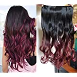 """DevaLook 20"""" Thick One Piedce Half Head Wavy Curly Clip in Hair Extensions Ombre 2 Tones Wavy Curly DL (Natural black to…"""