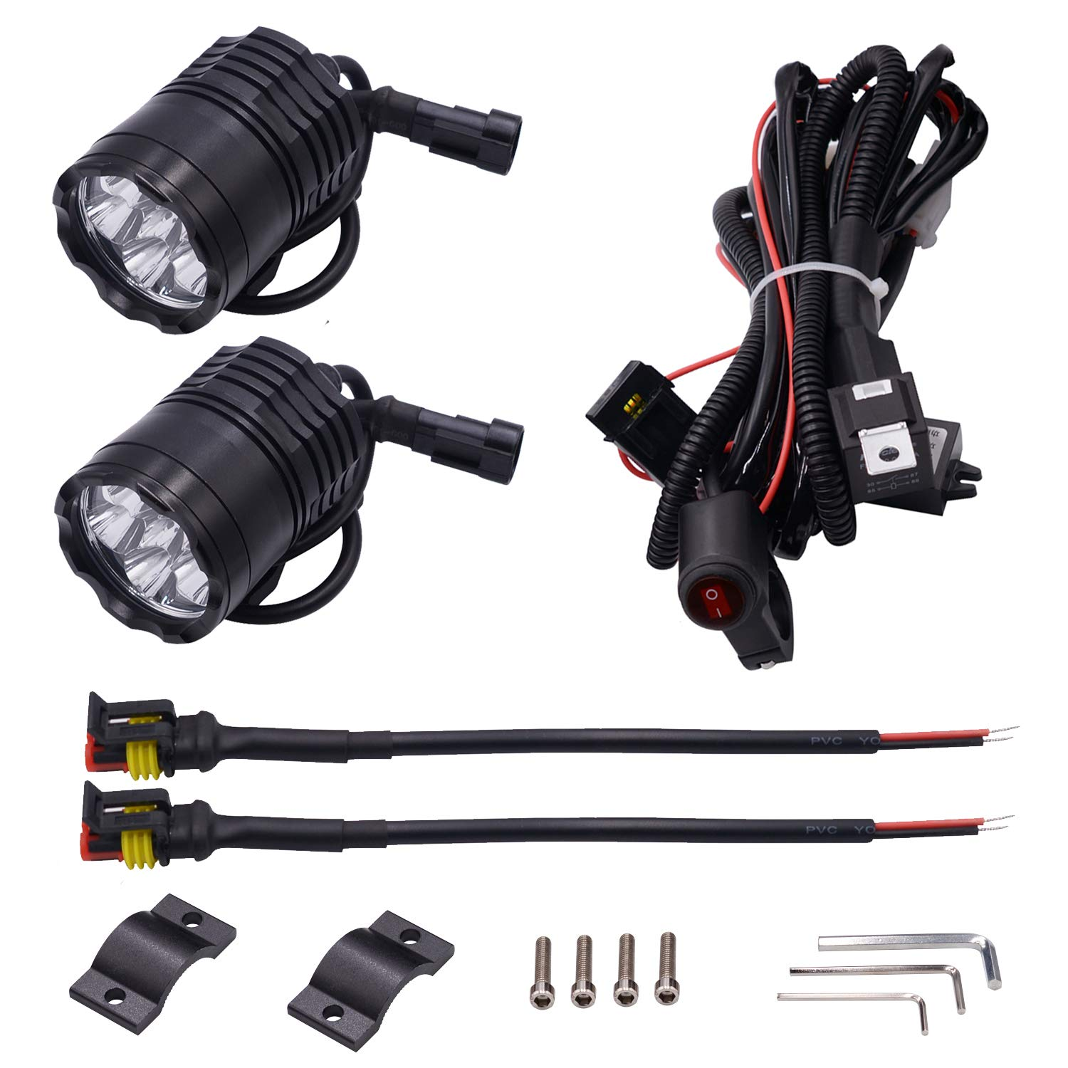 5559077086 E-Bro 2PCS Black Waterproof IP67 Aluminium Alloy 6 LED Beam Headlights 12V 60W 4000LM with LED Light Bar Wiring Harness Kit for Motorcycle Scooter ATV 6LED, Model B