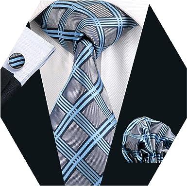 Barry.Pañuelo de bolsillo de corbata de seda azul gris Wang para ...