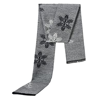 Tenchif Doux Hiver Noël Echarpe chaude avec flocon de neige pour homme 05769d0148c