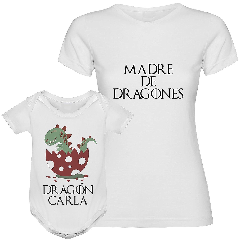 Regalo día de la madre camiseta madre personalizada + Body o camiseta hijo/a Texto estilo juego de tronos para mamá
