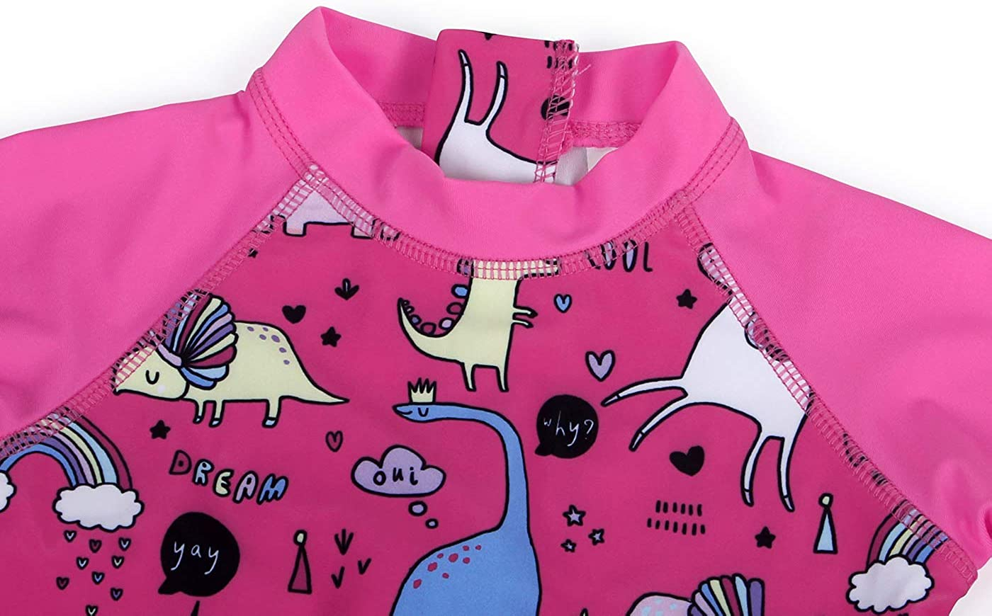 Cotrio Unicorn Swimwear Girls One Pieces Rash Guard Set Dinosaur Sun Suits with Sun Hat UPF 50+