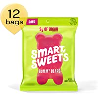 SmartSweets Low Sugar Gummy Bears Candy, Seriously Sour 1.8 oz Bags (Box of 12), Free of Sugar Alcohols and No Artificial Sweeteners, Sweetened with Stevia, Natural Fruit Flavors