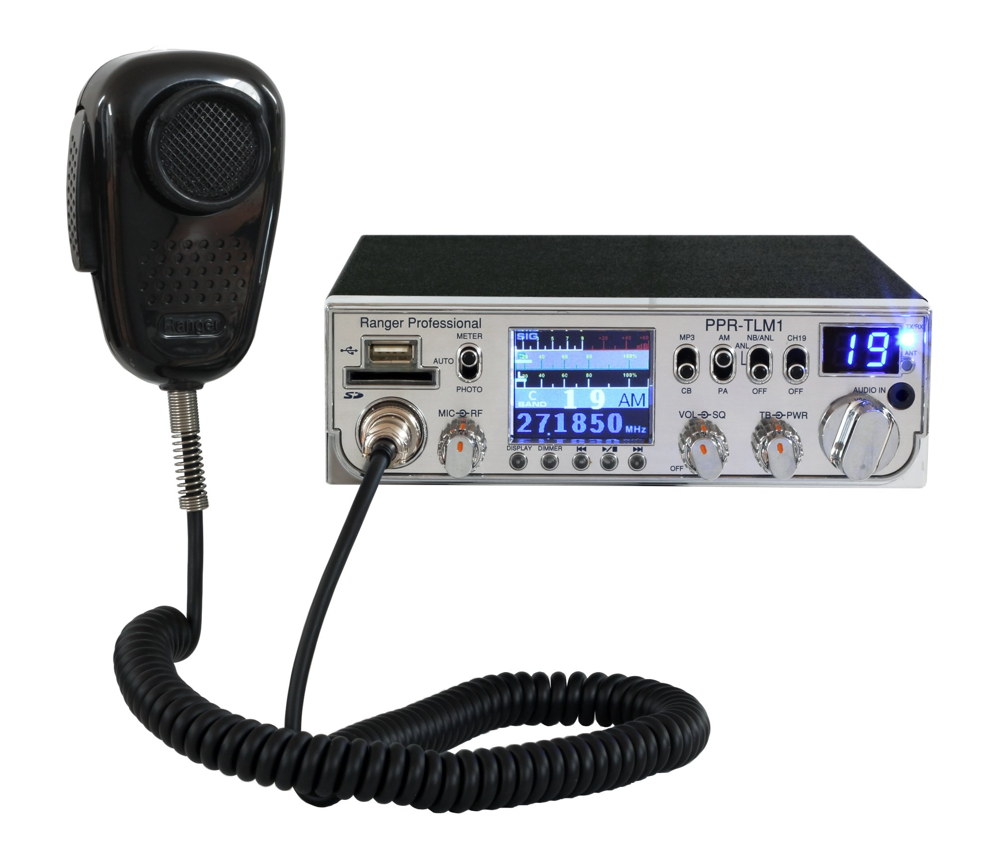 Ranger Professional PPR-TLM1 40 Channel AM Mobile CB Radio with TFT Display and SRA-198 Noise Cancelling Microphone by Ranger Communications