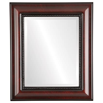 Rectangle Wall Mirror for Home Decor, Bedroom, Living Room, Bathroom |  Decorative Framed Beveled Mirror | Heritage Style - Vintage Cherry - 29x35  Inch ...