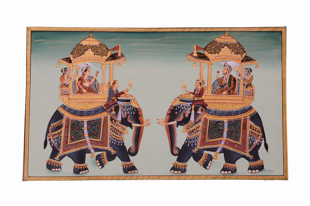 Mughal Miniature Royal Art Handmade Ambabari Elephant Stonecolor Ethnic Painting Lively to Decor Your Home Hotel Office Bedroom Lobby or Living Room by Handmade (Image #1)