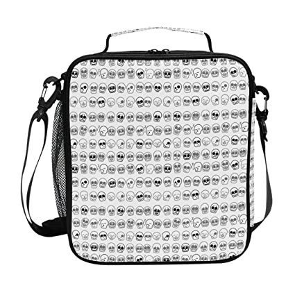 cdd5d171c3fe Amazon.com: Square Insulated Icons Skull Pattern Lunch Tote Bag Work ...