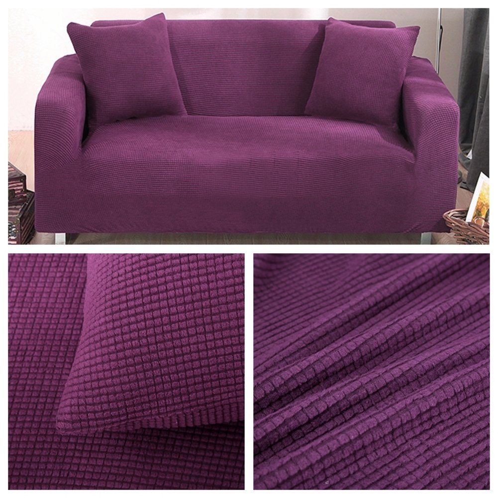 Purple sofaJiaQi Thicken Stretch Slipcovers sofa,Antislip Foams couch,Antimite Four seasons Pet dog cat predector Sofa sets Dust coverpurple sofa