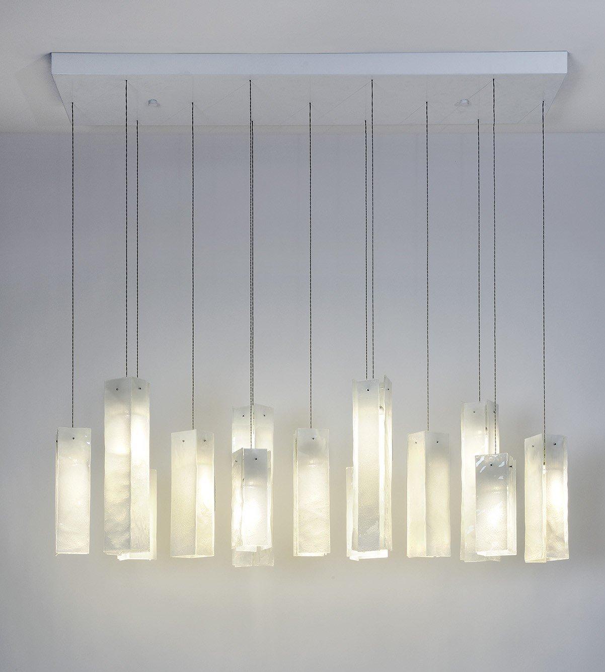 13 white skyline light pendants led rectangular chandelier handmade by am studio toronto amazon com