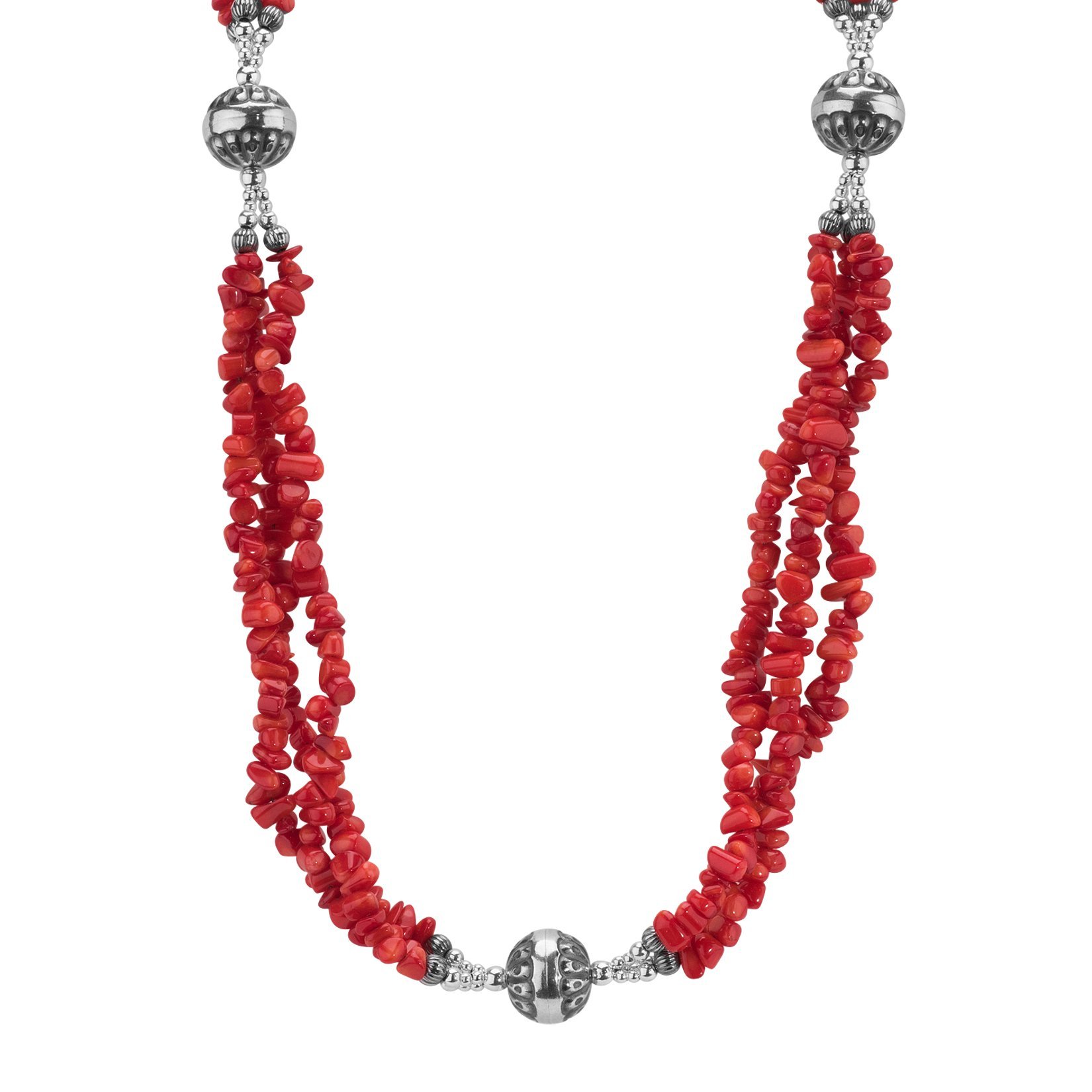American West Jewelry Sterling Silver Red Coral Three-Strand Necklace, 36''