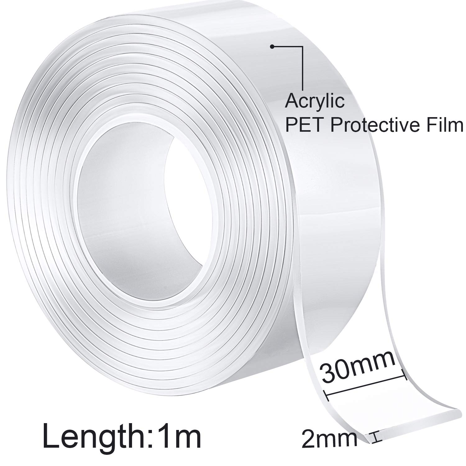 3.3FT//1M Wall 2 Pieces Double Side Adhesive Tape Silicone Tape Removable Transparent Tape Reusable Nano Tape for Home Kitchen