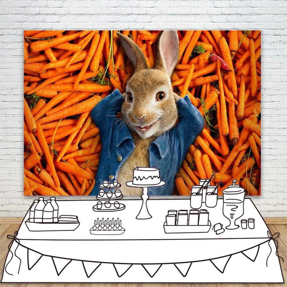 Peter Rabbit Backdrop for Kids Birthday 7x5 Orange Carrots Photo Background Baby Shower Seamless Vinyl Backgrounds Infant Photocall
