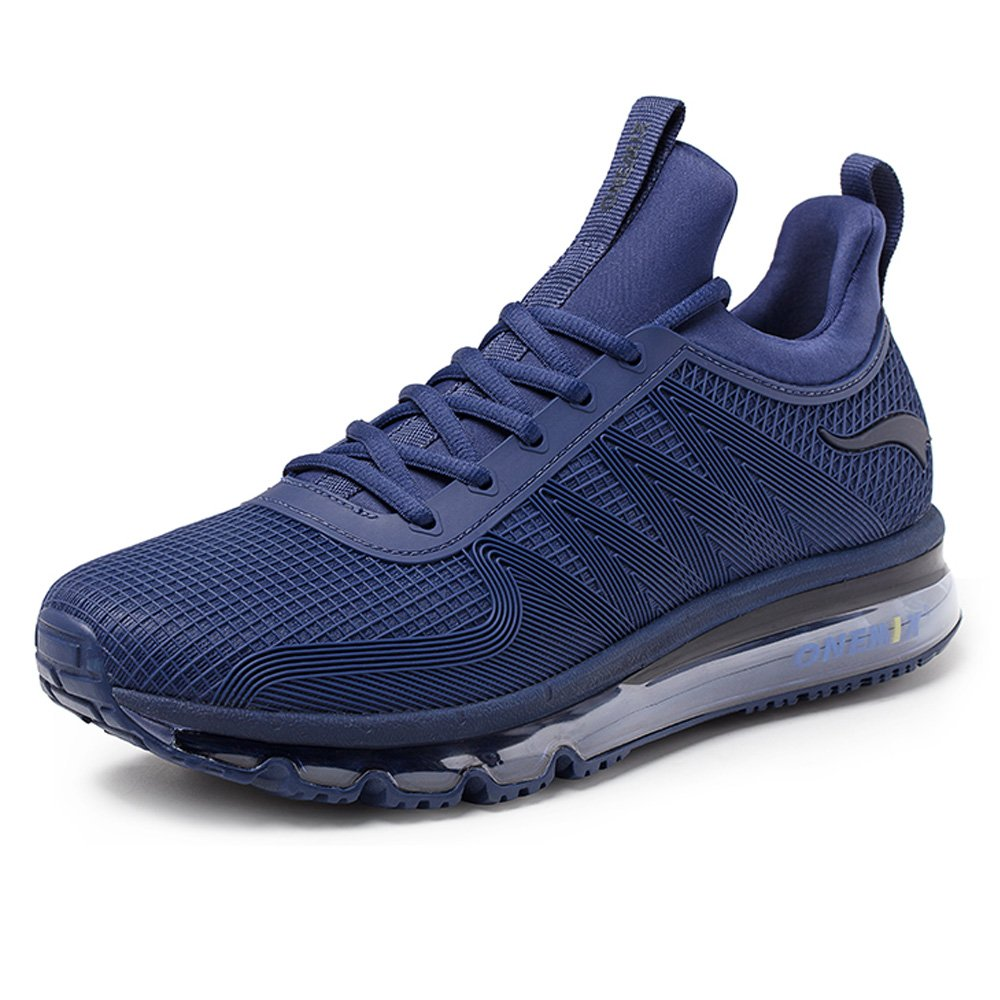 ONEMIX Men's Air Running Shoes One-Piece Damping Cushion Sneakers B07C2MLGJT 9.5 D(M)US 10.62 inch|Dark Blue