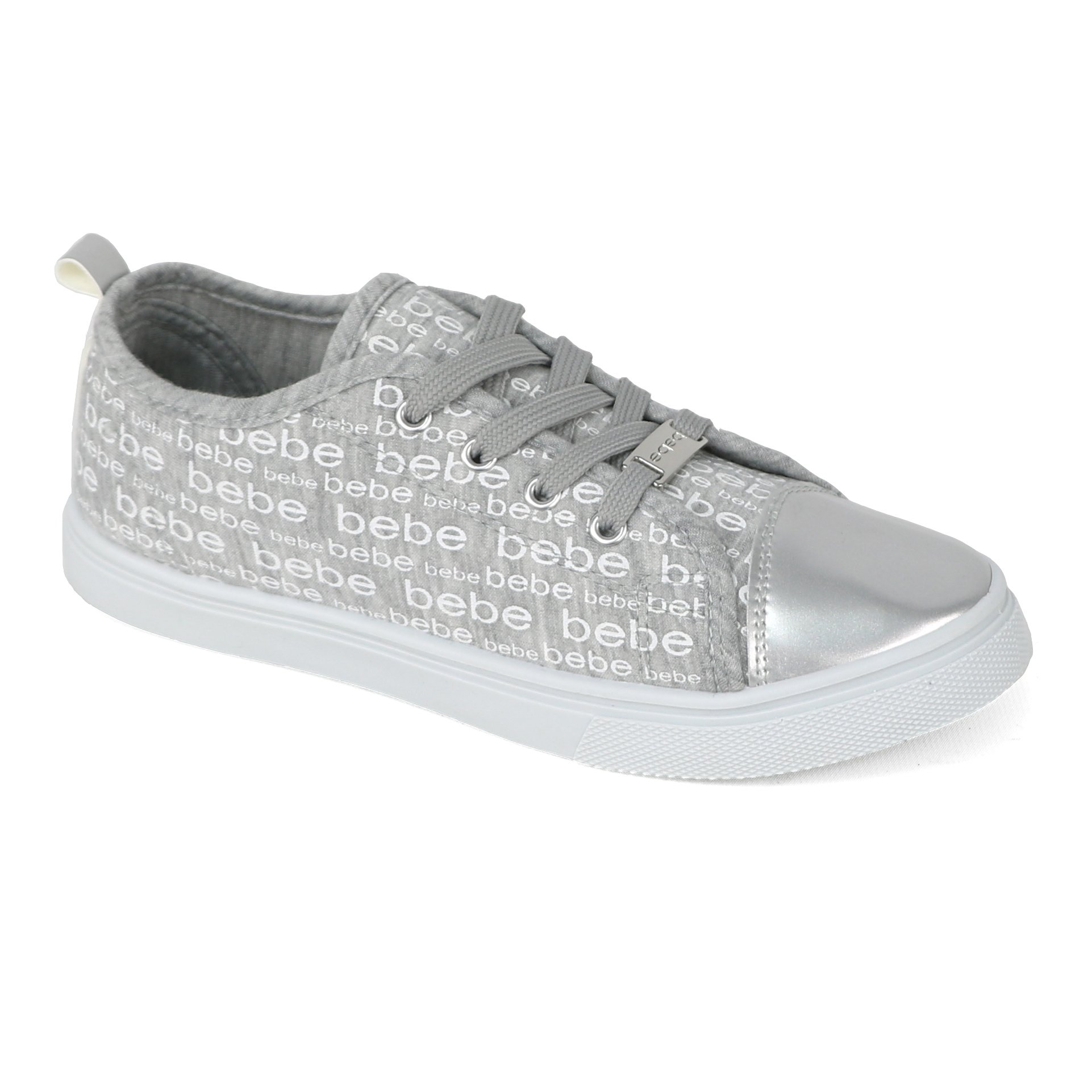 bebe Girls Printed Metallic Fashion Sneaker (2-3 M US Little Kid, Silver)