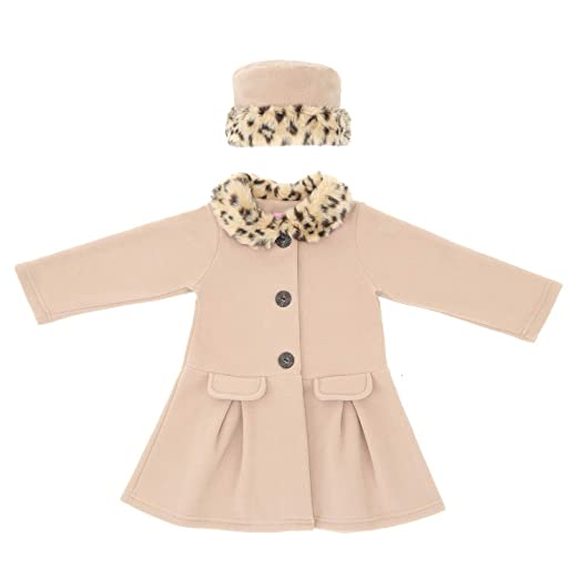0a8d5ca02ca9 Amazon.com  Good Lad Camel fleece coat with fur trim Matching Hat ...