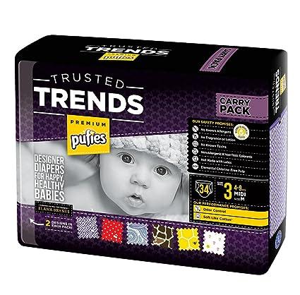 Pufies Trusted Trends Greek Key - 34 Pañales, talla 3, 4-9 kg