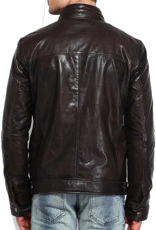 New Mens Genuine Lambskin Leather Slim Fit Biker Motorcycle Jacket for Men T485