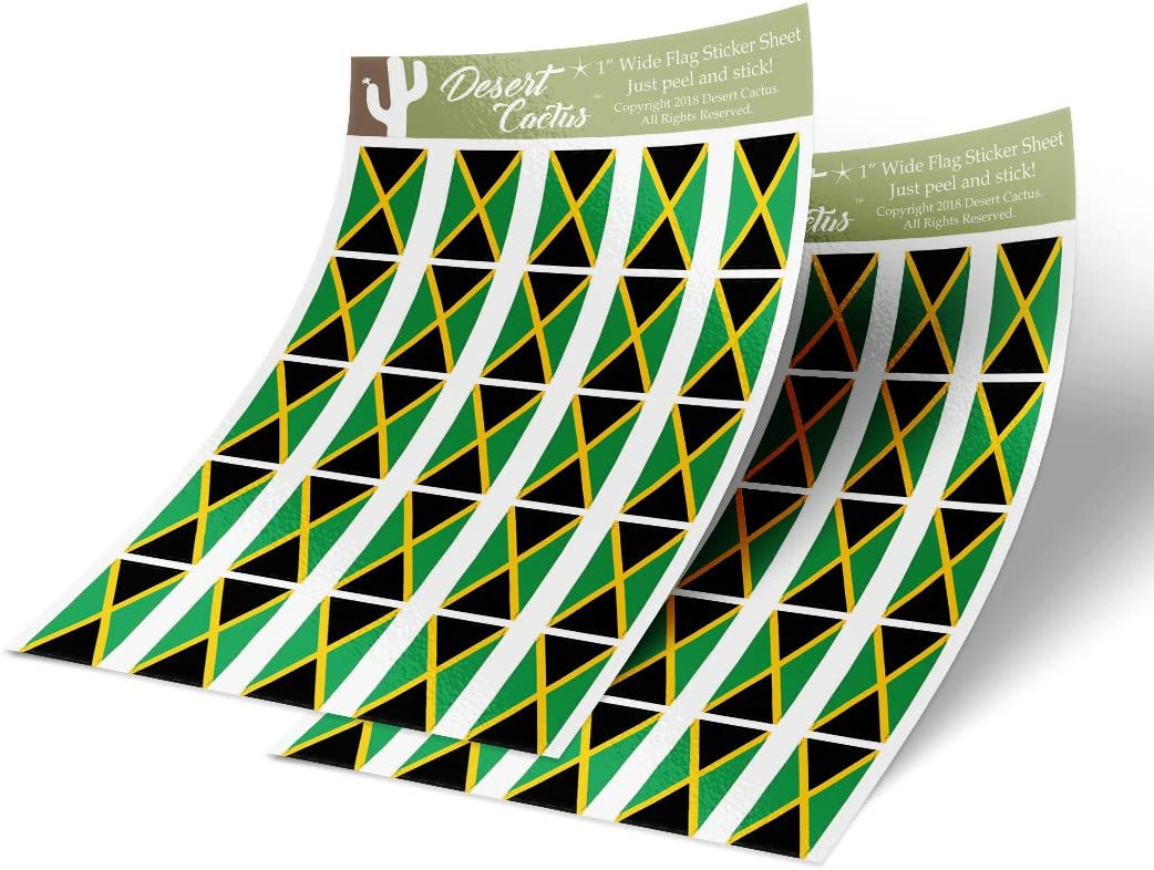 Jamaica Country Flag Sticker Decal 1 Inch Rectangle Two Sheets 50 Total Pieces Kids Logo Scrapbook Car Vinyl Window Bumper Laptop Jamaican R
