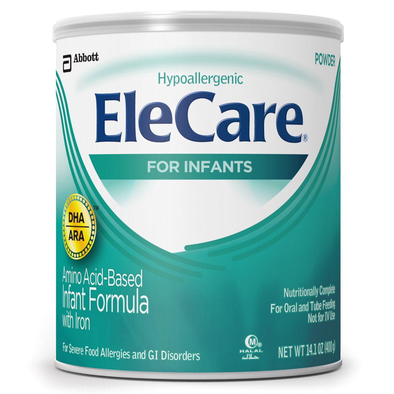 EleCare For Infants (0-12 months) Unflavored Powder with DHA/ARA, 1 Can 14.1OZ (Packaging may vary) 55251