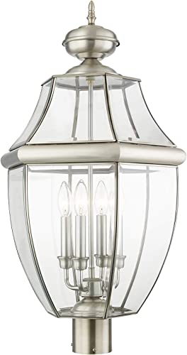 Livex Lighting 2358-91 Outdoor Post with Clear Beveled Glass Shades, Brushed Nickel