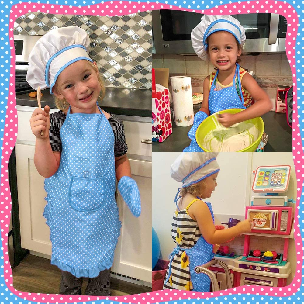 Childrens Cooking and Baking 11PCS Set,Role-Play Toy Apron Chefs Hat Oven Mitts for Boys and Girls