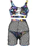 Womens Sexy Swimwear Push-up Padded Front Lace up Bathing Suit Fashion Geometric Patterns Bikini Sets