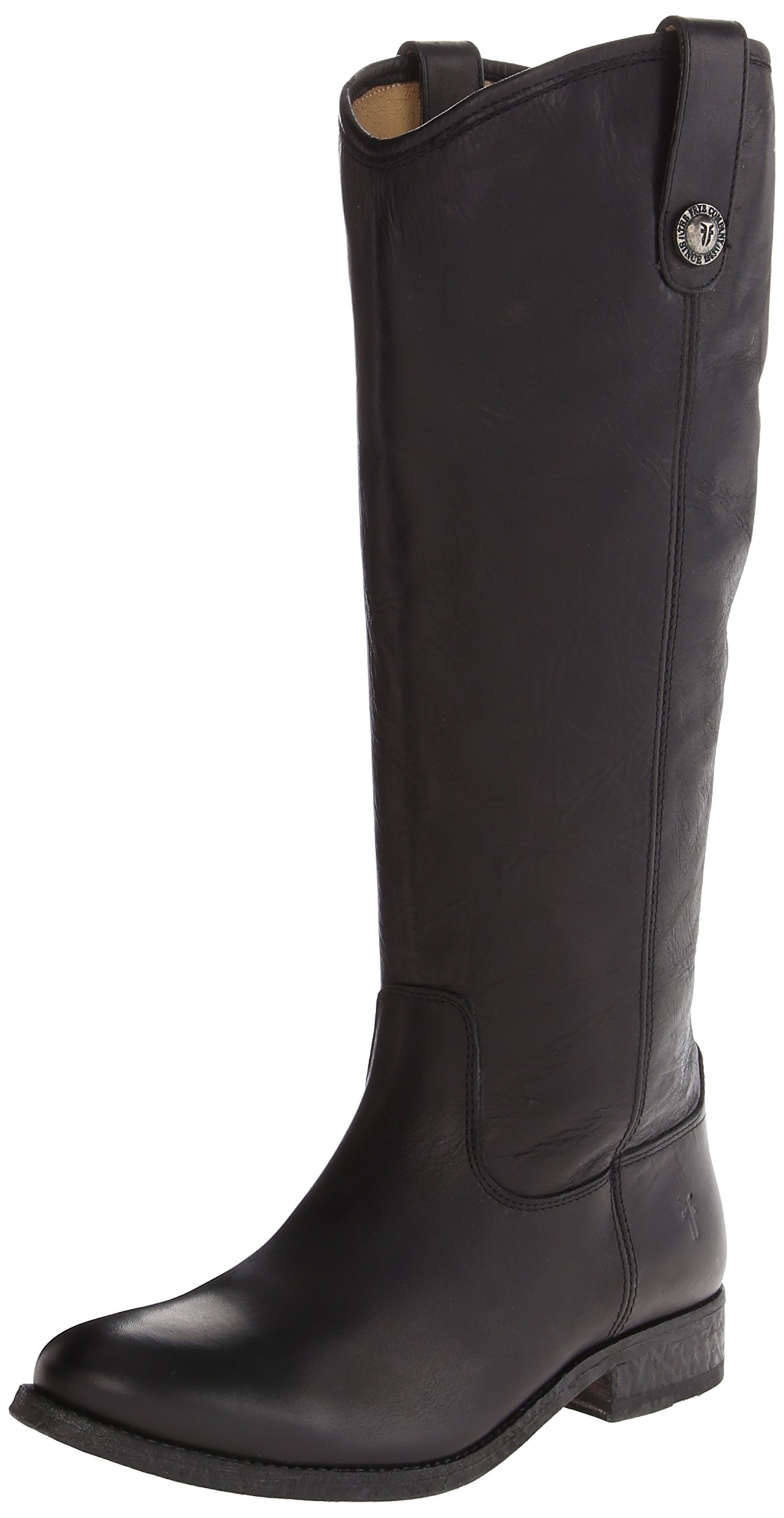 FRYE Women's Melissa Button Boot, Black Washed Antique Pull-Up, 10 M US