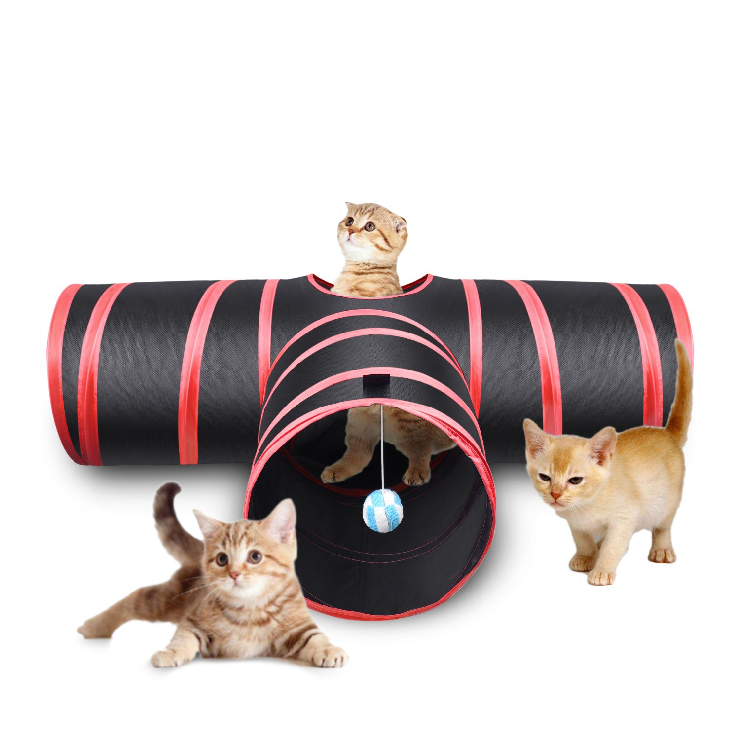 3 Way Cat Tunnel Creaker Collapsible Pet Toy Tunnel with Ball for Cat Puppy Kitty Kitten Rabbit (Red)