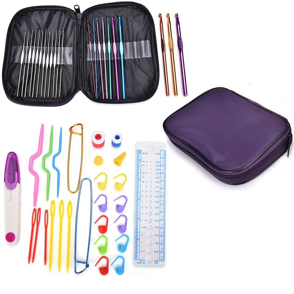 Crochet Hooks Set, Buytra 49 Pieces Aluminum Knitting Needles Kit Weave Yarn Sewing Needles with Travel Zipper Case Organizer for Beginners, Experienced Crocheters (Purple Case) 4336923068
