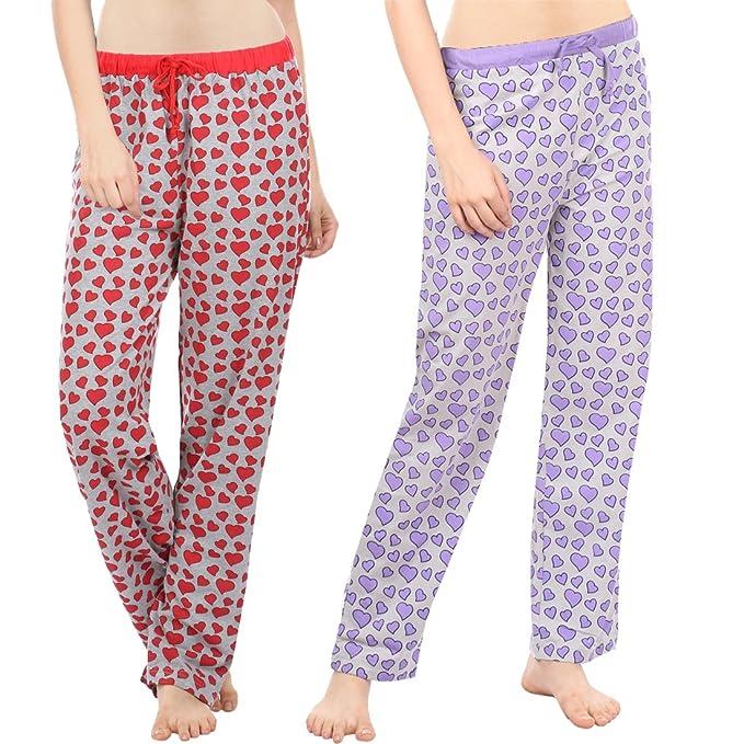 a8c0a0dec96f Semantic -Pack of 2 - Women Cotton Pyjama - Ladies Printed Pyjama s -  Regular Fit Sleepwear Size S