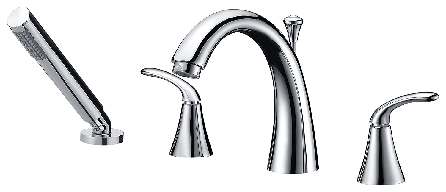 2 Handle Deck Mounted Bathtub Faucet Filler In Polished Chrome