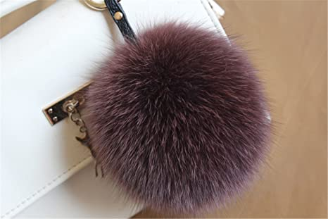 Amazon.com  HEARTFEEL Real Fox Fur Pom Pom Ball Keyring   Bag Purse ... b01f38c94