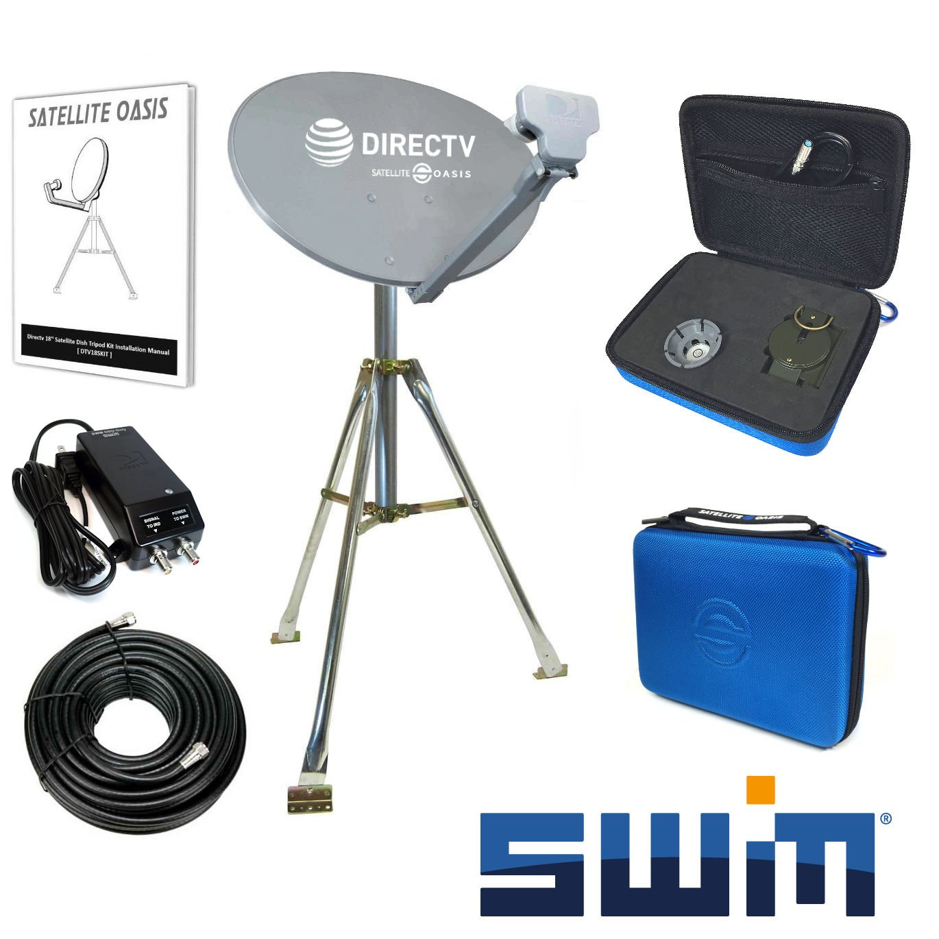 DIRECTV SWiM Mobile RV Portable Satellite Dish Tripod Kit SWM SL3S by Satellite Oasis
