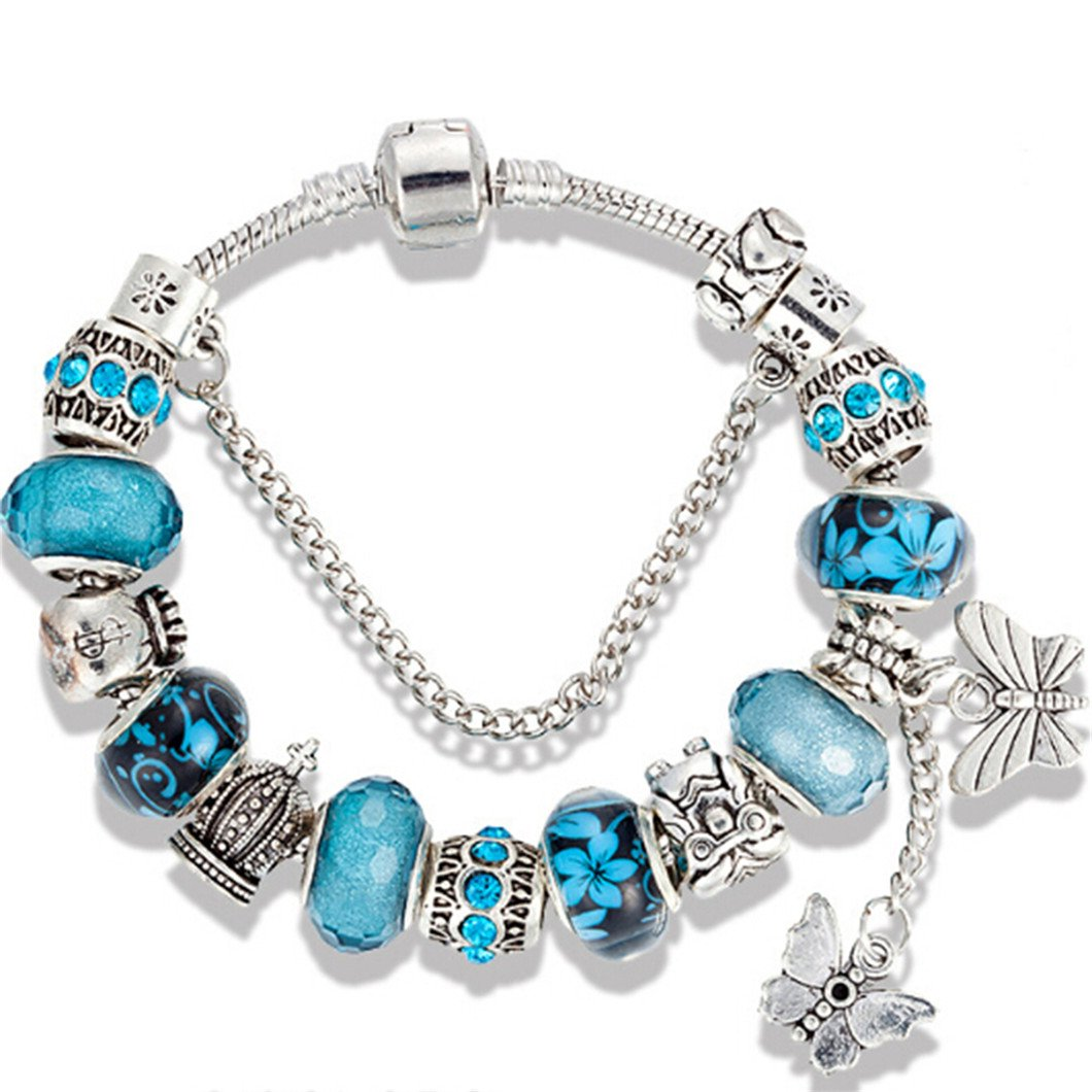 Gluckliy Blue Beads Bracelet Snake Chain Butterfly Charm Strand Bracelet for Women (18cm) fangqiang