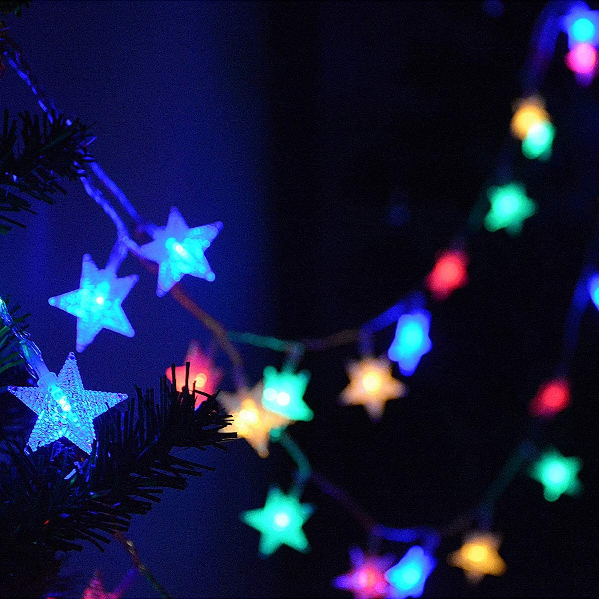 Color changing battery operated star string lights