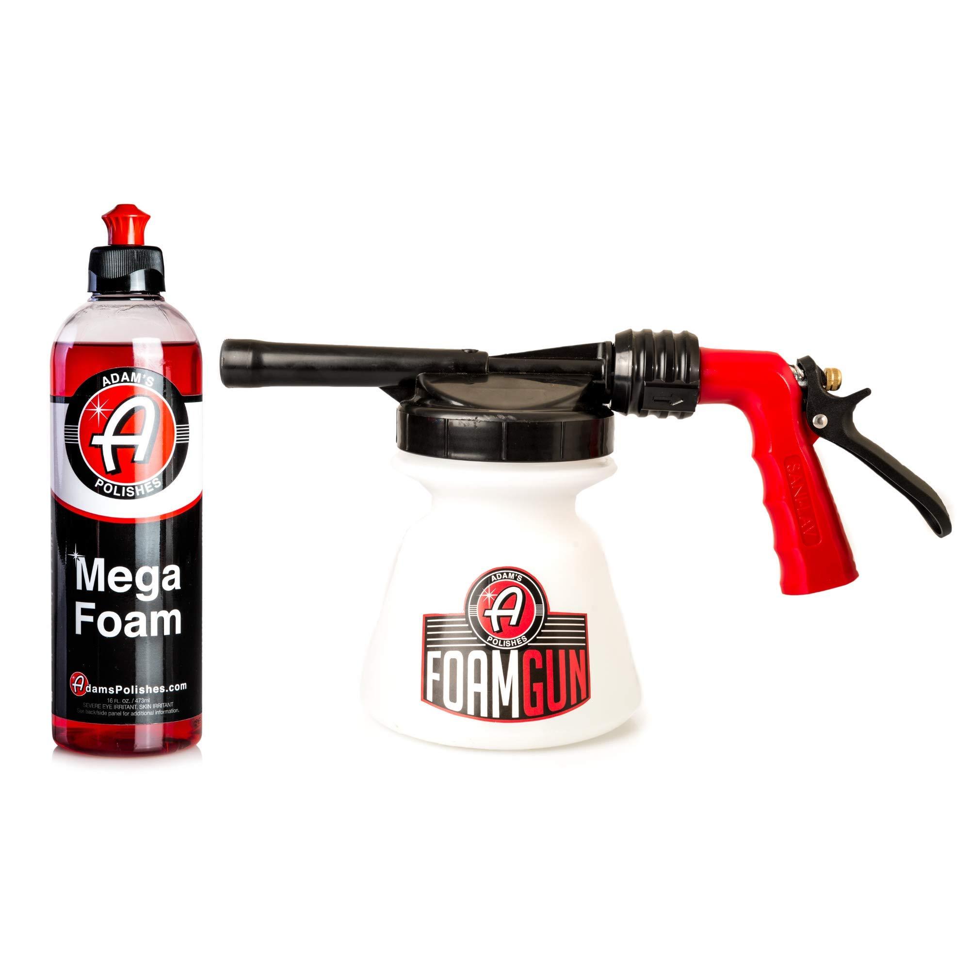 Adam's Standard Foam Gun - Produces Thick, Sudsy Foam for Car Washing - Use with Regular Garden Hose - Fun, Efficient Way to Foam Down Your Vehicle (Foam Gun & 16 oz Mega Foam)