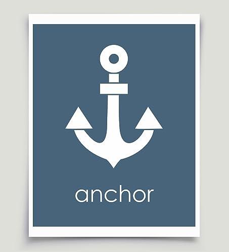 Amazon.com: Nautical Anchor Wall Decor Art Navy Blue Unframed Paper ...