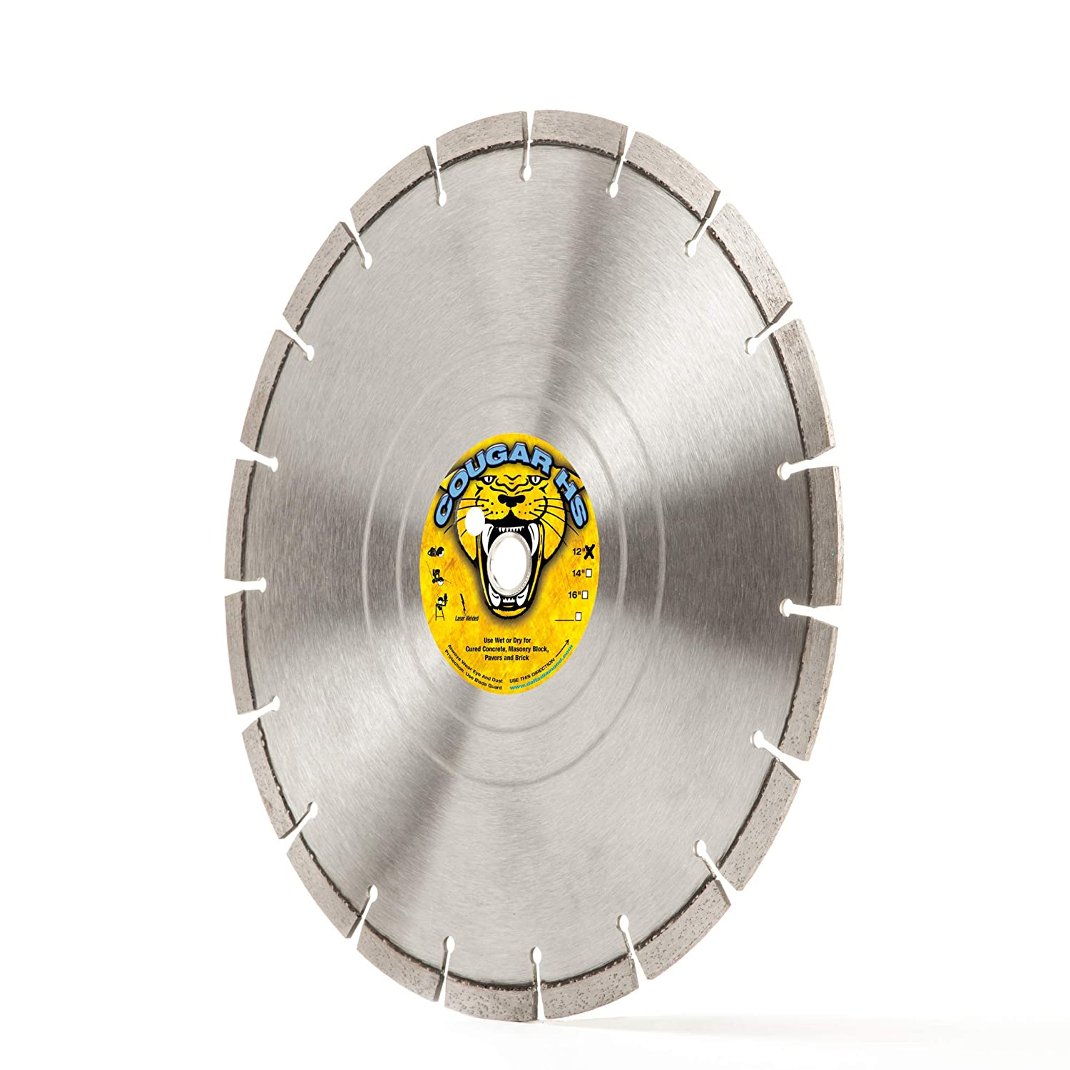 """Cougar HS 12-Inch (12"""") X .125 X 1""""-20MM Wet/Dry Diamond Blade for Concrete, Masonry, Stone, Pavers and Similar Materials"""