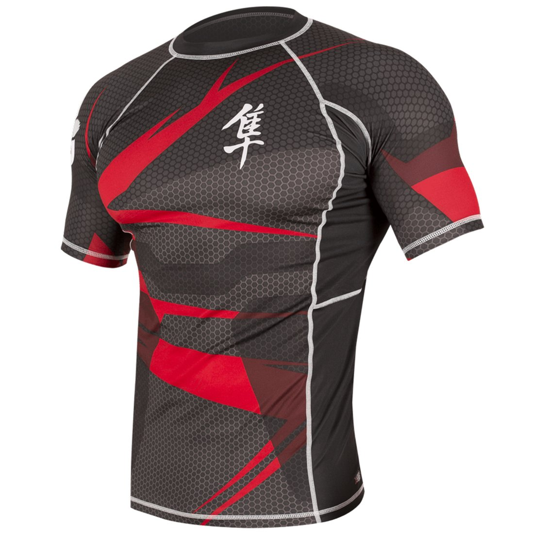 Hayabusa Metaru 47 Silver Rashguard Shortsleeve (Black/Red, Small)