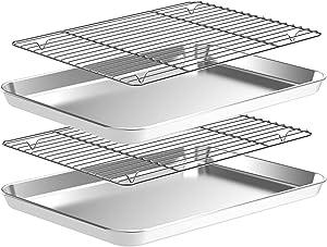 Baking Sheet with Wire Rack Set, 4pcs(2 Pans+2 Racks) Stainless Steel Cookie Sheet, Nonstick Baking Pans Set, Heavy Duty Sheet Pan Non Toxic, Rust Free, Mirror Finish, Dishwasher Safe (16 Inch)