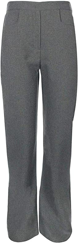 3-4 Years, Grey Junction 10 Girls Elasticated Waist Pull Up School Trousers Pull On Stretch Rib Trousers