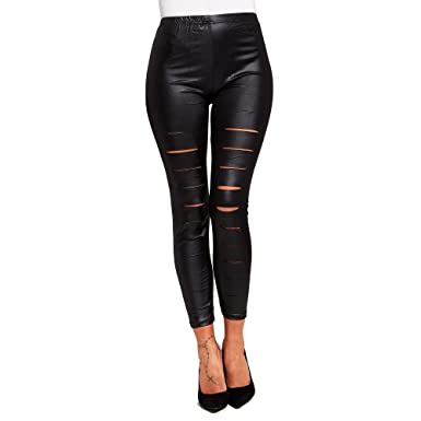 b3847db0d52f New SCO Womens Sexy Ladies Wet Look Black Faux Leather Leggings Plus Size  (8): Amazon.co.uk: Clothing