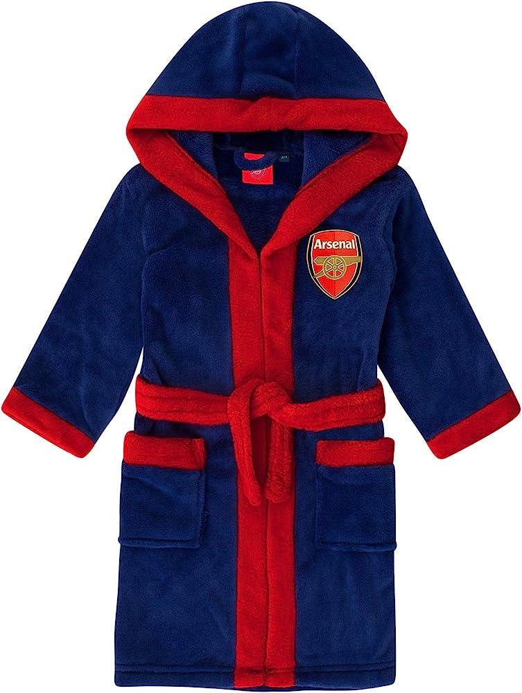 Boys ARSENAL AFC Football Fleece Hooded Dressing Gown Bathrobe 3 to 6 Years