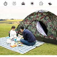 FairytaleMM Outdoor Portable Single Layer Camping Tent Camouflage 2 Person Waterproof Lightweight Beach Fishing Hunting Tent Wigwam(Color:camouflage)