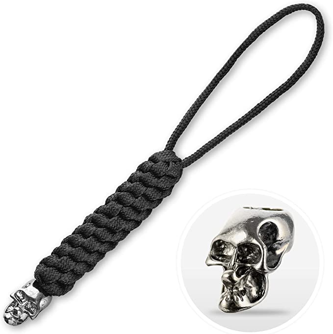Lanyard für Messer oder Schlüssel in Pink Türkis Paracord 550Typ III mit 1 Skull