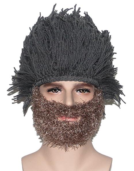 Kafeimali Men s Head Barbarian Vagabond Beanie Original Foldaway Beard Hats  Halloween Funny Warm Winter Caps (Brown) at Amazon Men s Clothing store  84f0c31cb67