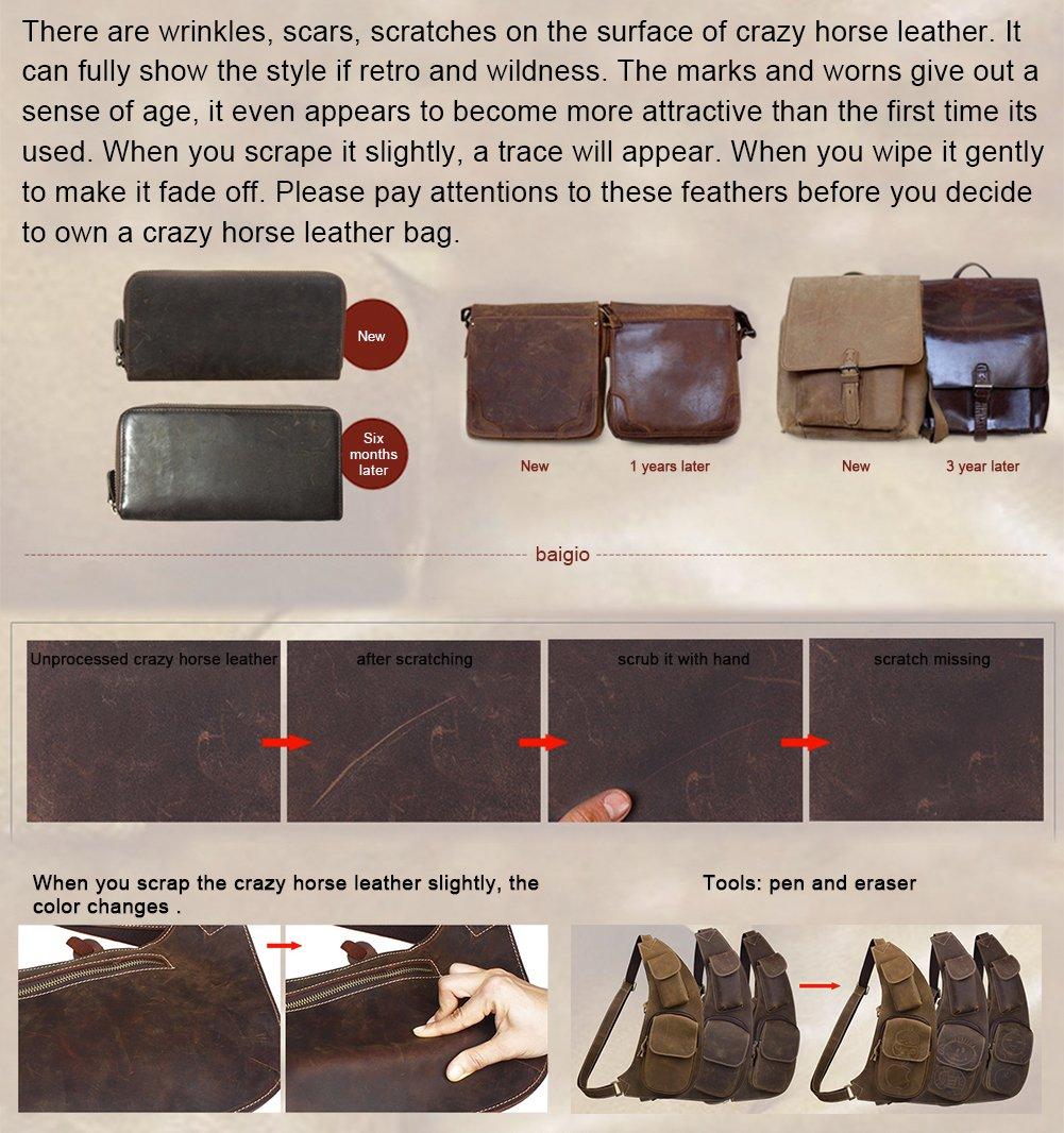 BAIGIO Men Retro Leather Briefcase Laptop Computer Office Business Shoulder Tote Messenger Bag (Dark Brown) by BAIGIO (Image #6)
